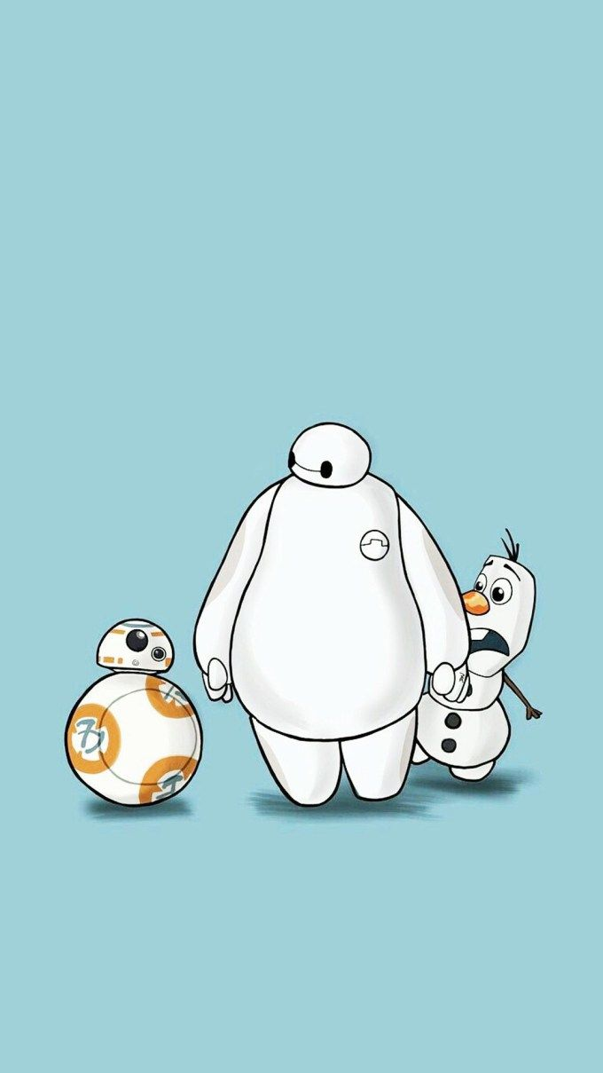 ベイマックスオラフBB-8 iPhone壁紙 Wallpaper Backgrounds iPhone6/6S and Plus  Baymax & Oraf & BB-8 iPhone Wallpaper