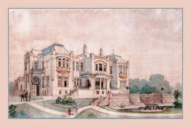 projeto de Carlos Ekman para a Vila Penteado - Higienópolis, São Pauloiniciando a execução dessa residência em 1902.