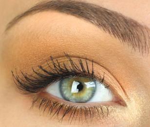 Matte brown around eye with gold highlight in inner corner