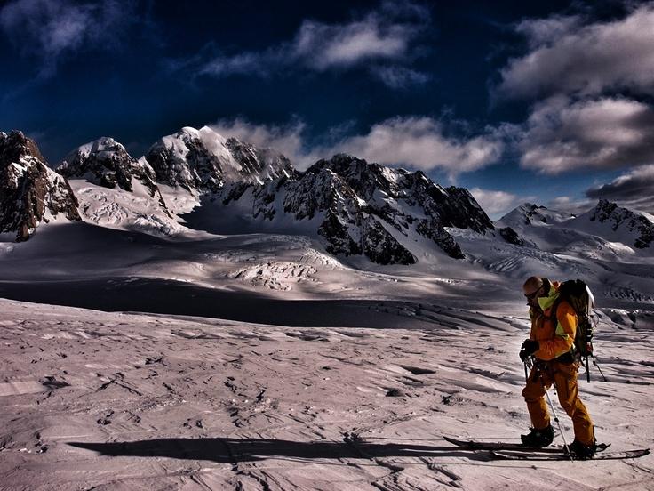 Splitboard touring on fox glacier. New Zealand's 2nd highest mountain, Mt Tasman, in the background. #splitboard #snowboard #nz #backcountry