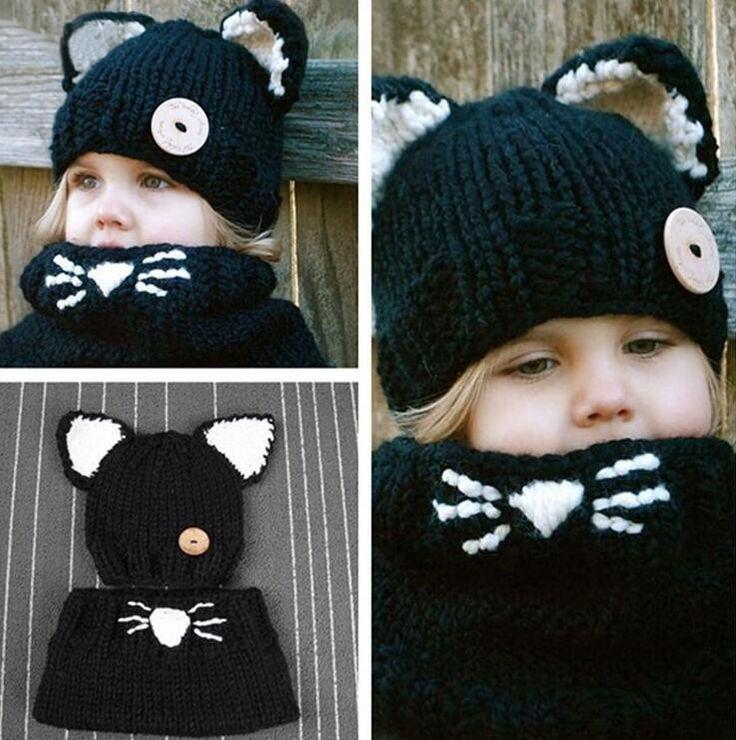 Fox Headgear Knitting Kids Beanies Baby Infant Crochet Girl Cap For Boy Warm Hat Child Winter Hat Baby Thick Accessories