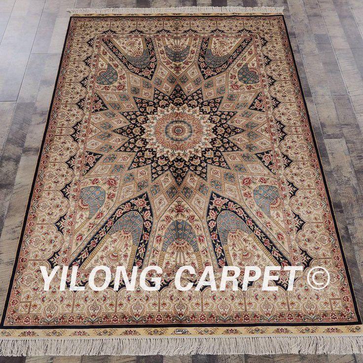 Yilong 4.5'x6.5′ Turkish silk carpet Living Room O…
