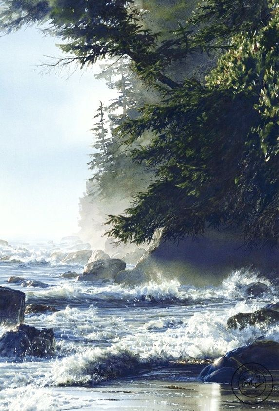 Carol Evans Watercolour, High-Tide in Beautiful British Columbia   featured in lobby at Pacific Gateway Hotel YVR