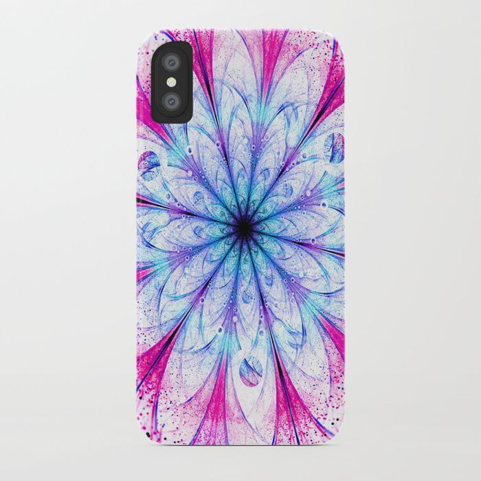 Winter Pink glittered Snowflake iPhone Case #OksanaAriskina  #Artworks #FineArtPhotography #HomeDecor #FineArtPrints #FineArtAbstract #Fractal #Abstract #ArtForSale #Snowflake #Christmas #Pink #Flower #Bokeh #fractal