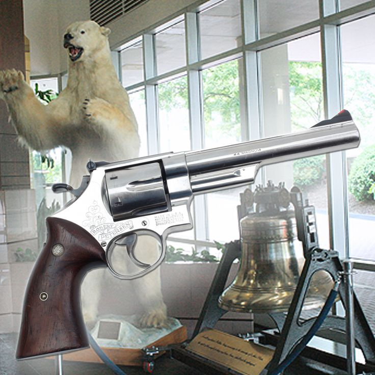 Smith & Wesson M29 Revolver-On 2-25-1965 Robert Petersen hoped to be the first man to harvest a polar bear with a .44 Magnum handgun. Others with him, namely his guide clinging tightly to his .375 H&H rifle, weren't so convinced. Landing near Big Diomede Island, Petersen followed a set of tracks around a maze of ice hills, when the tables turned & the bear was now hunting him! Firing 5 shots, Petersen had his bear. The 6.5 in S&W & the bear are at the NRA National Firearms Museum in Fairfax…