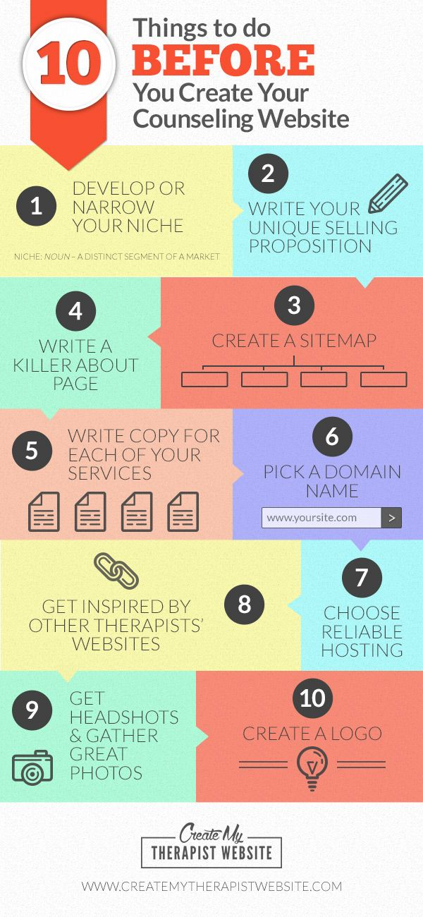 [Infographic] 10 Things To Do BEFORE You Create Your Counseling Website (Plus a Bonus Tip) - Things that will help make your private practice website launch a success. Learn more: http://www.createmytherapistwebsite.com/10-things-to-do-before-you-create-your-counseling-website?utm_content=bufferb5a14&utm_medium=social&utm_source=pinterest.com&utm_campaign=buffer
