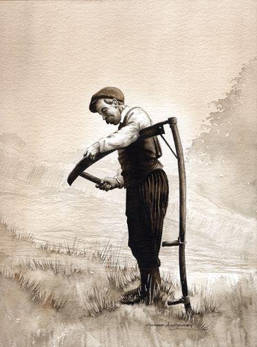 Irishman honing a scythe.