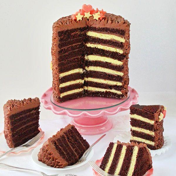 SugaryWinzy Chocolate Celebration Ruffle Flag Cake