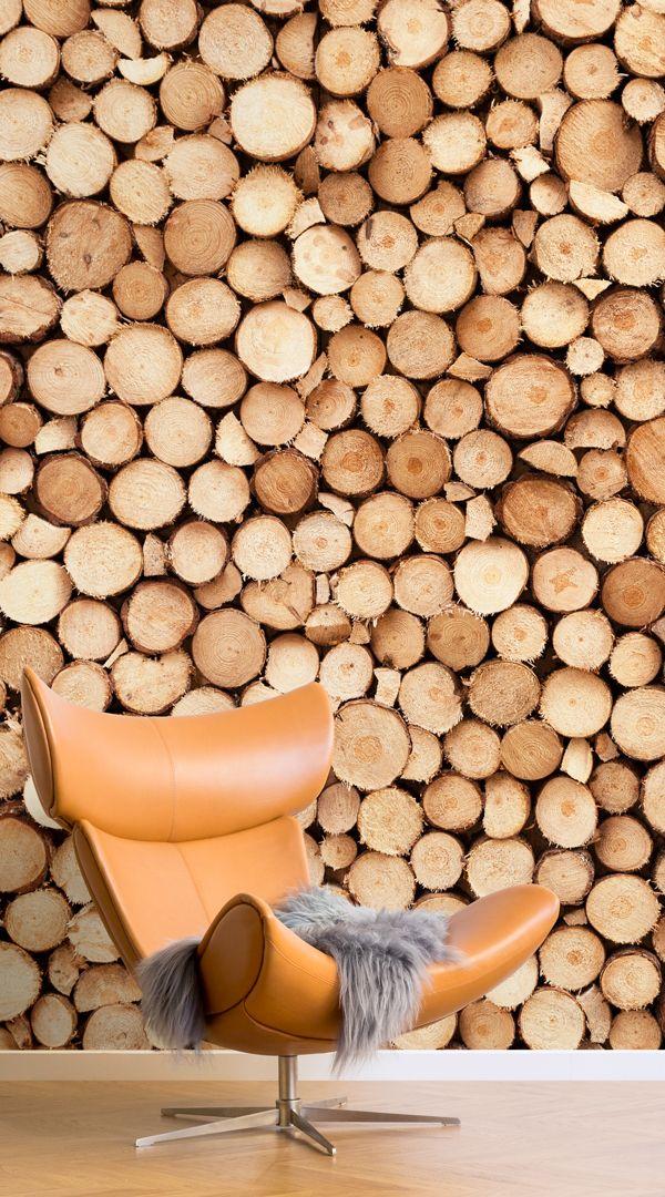 Logs Wallpaper Norweigan Wood Design Muralswallpaper Log Wallpaper Best Wood For Furniture Living Room Diy