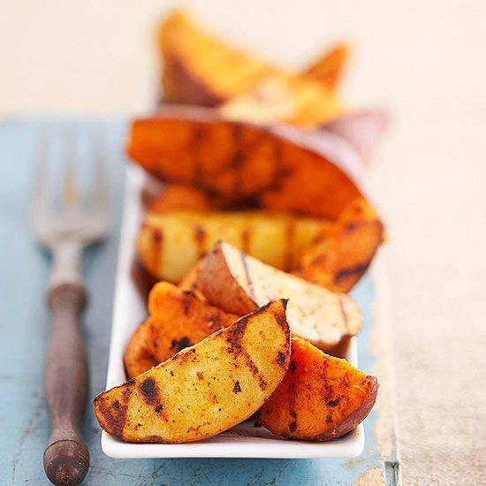 Potato Wedges  - Tip: To get a head start on the potatoes, precook, cover, and chill up to 24 hours. When ready to grill, brush potatoes with paprika mixture and grill 12 to 15 minutes to heat through