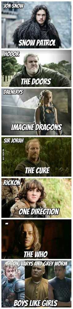Game of Thrones characters and their favorite bands