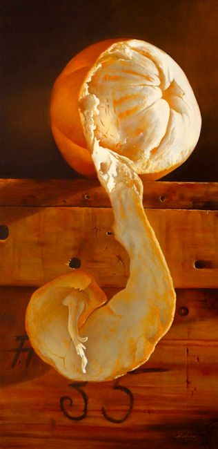 fantastic view of a peeled orange Number Thirty-five.  Mickie Acierno. Oil
