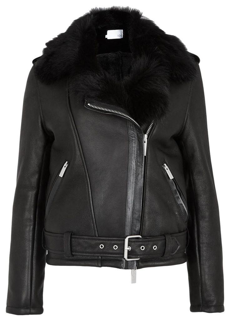 Black Toscana shearling biker jacket - Jackets - All Clothing - Women