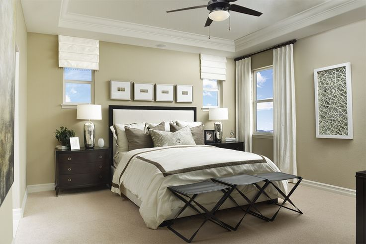 Sophisticated wall art pulls this bedroom together! | Platte model home | Littleton, Colorado | Richmond American Homes