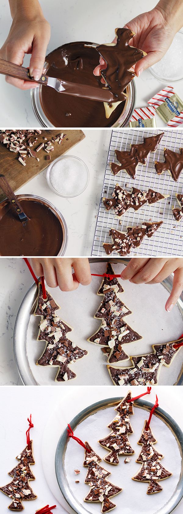 Watch YouTuber Caroline Artiss take you through the step-by-step prep for these sweet & simple chocolate-frosted tree cookies. The #SweetestSecret to making them truly shine? Crumbling our signature Peppermint Bark chocolate on top. Read more at http://www.ghirardelli.com/holiday-baking#FhvHW5EqUOl7iC8j.99