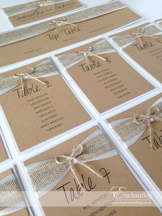 Rustic wedding hessian twine   The Goldilocks Collection - DIY Table Plan Seating Chart   Featuring two layers of ribbon, 1 satin and 1 hessian and a twine bow   Luxury handmade wedding invitations and stationery #byenchanting