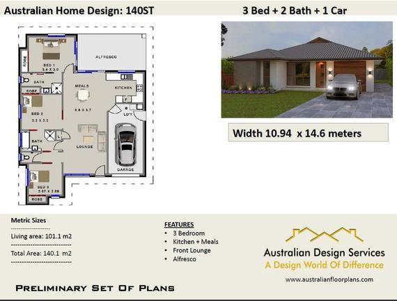 140m2 3 Bedroom Plans Concept House Plans For Sale House Etsy House Plans For Sale 2 Bedroom House Plans Sale House