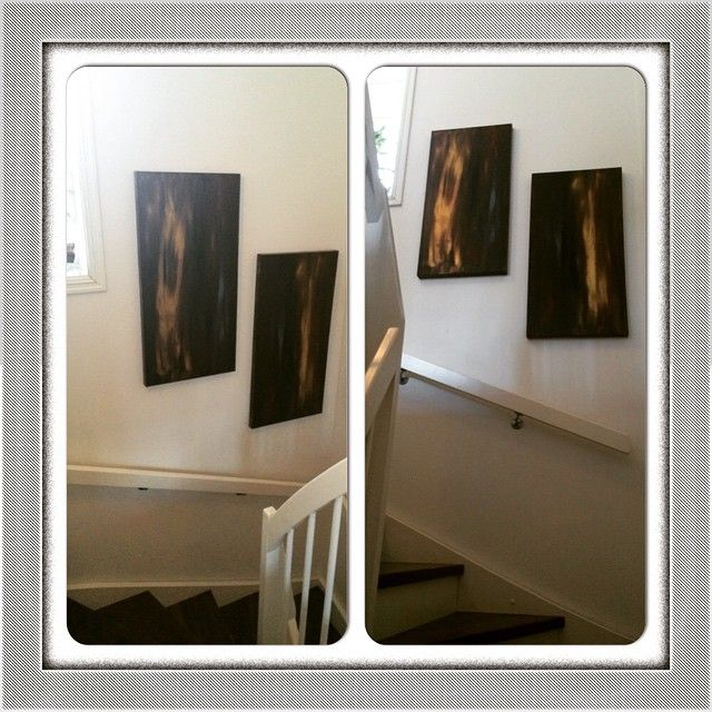 Upstairs and downstairs - in flames... 2 x 50x100cm up for grabs ☺️ Ha en super lørdag!  #maleri #malerier #paint #paintings #acryl #acrylic #akrylmaling #art #diy