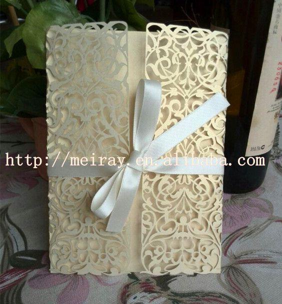 Goedkope , koop rechtstreeks van Chinese leveranciers:  2014 laser gesneden papierelegante unieke bruiloft uitnodigingskaartenluxe bruiloft uitnodiging kaart met satijnen lint groothandelProfessionele fabriek van bruiloft uitnodiging kaa