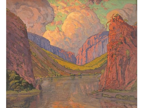 "Jacob Hendrik Pierneef - ""A Mountain Gorge with a River Running Through it"""