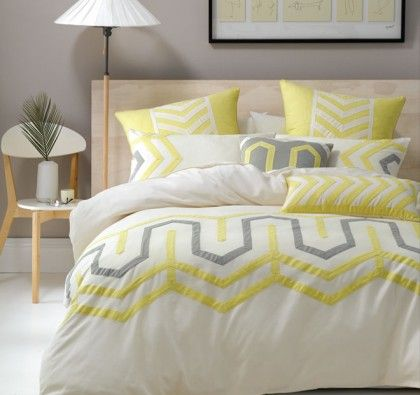 Deco Ralston Natural/Yellow Quilt Cover Set. A smart and sophisticated looking quilt cover set by Deco with a large geometric design enclosing it.