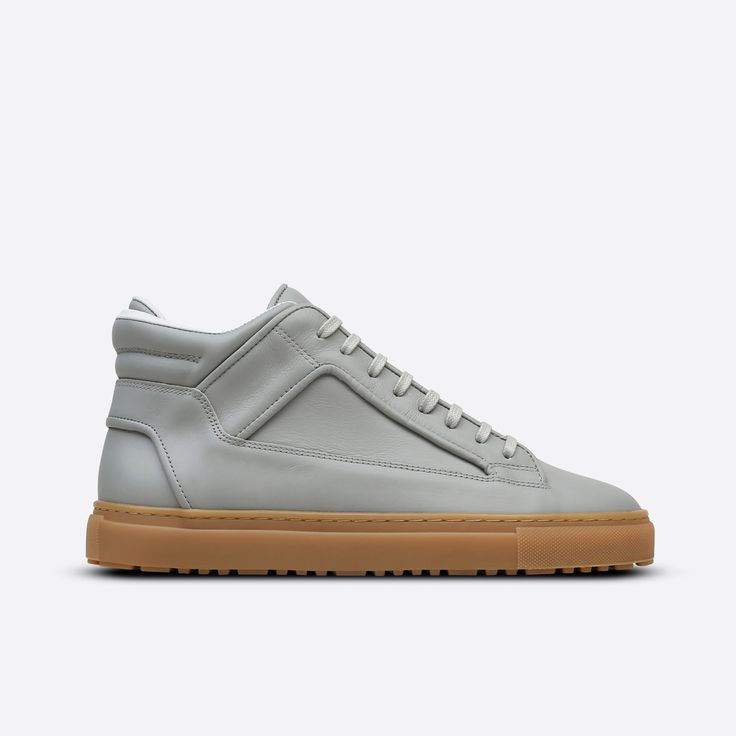 Mid-top rubberized leather sneaker in Alloy. Tonal leather trim, lace-up
