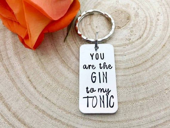 Funny Valentines Day Girlfriend You Are The Gin To My Tonic Keyring Key Chain