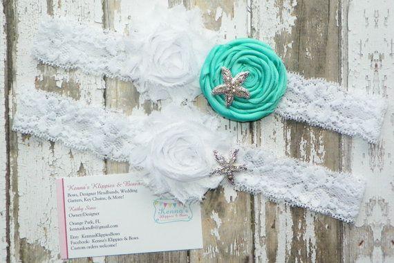 Aqua Blue Wedding Garter Set, White Lace Garter Set, Bridal Set, Satin, Rhinestone Starfish, Beach Wedding, Ocean Theme, Shabby Garters