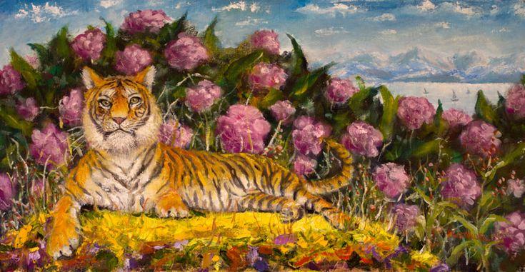 Фэншуй — картина маслом. Тигр на фоне пионов и гор.