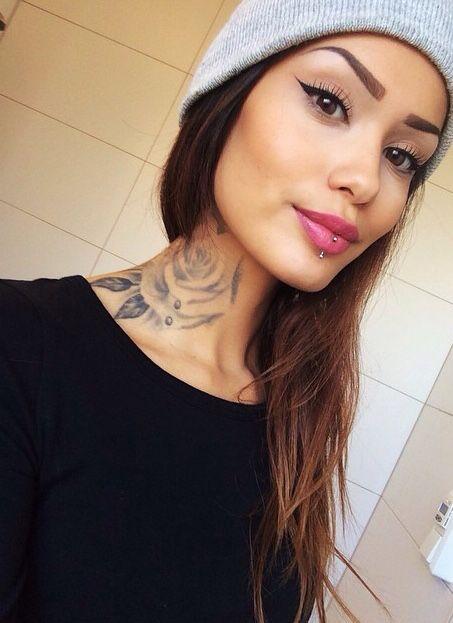 solisseblog   Face piercings, Neck tattoos women, Neck tattoo