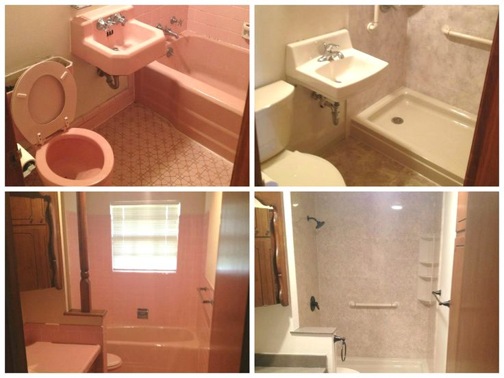 Here are some great before and after pictures of pink bathrooms we have done in the past. Tub to shower conversions. ReBath.com