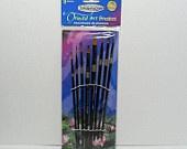 Paint Brush set of 8-Liner No, 1,2,3 Filbert No. 8, 10, 12 Angular No. 4,6