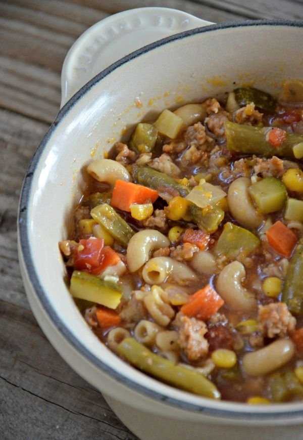 Ski Soup with Italian Sausage Recipe ~ Says: Similar to a goulash it's chocked full of ground beef and/or Italian sausage, lots of vegetables, a sweet and savory broth and some sort of pasta