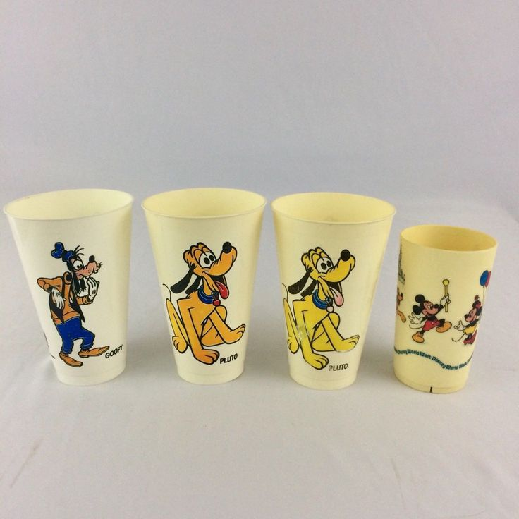 Vintage Disney Plastic Cups Pepsi Walt Disney World Goofy Pluto Mickey Minnie