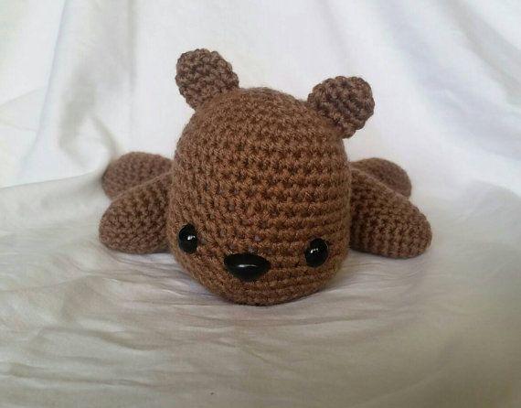 Brown Teddy Bear Stuffed Animal/ Amigurumi/ lying down
