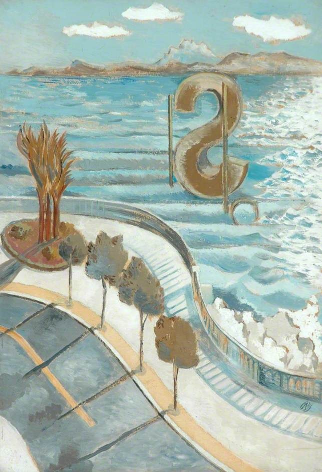 View from a Window, Nice / Paul Nash / 1934 / oil on board / Feels a bit surrealistic, with that 's' out there!