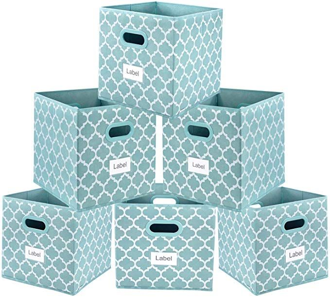 Amazon Com Homyfort Foldable Storage Cube Bins 11x11 Inches Fabric Storage Bin Baskets Box Organizer In 2020 Fabric Storage Bins Storage Bins Baskets Cube Storage