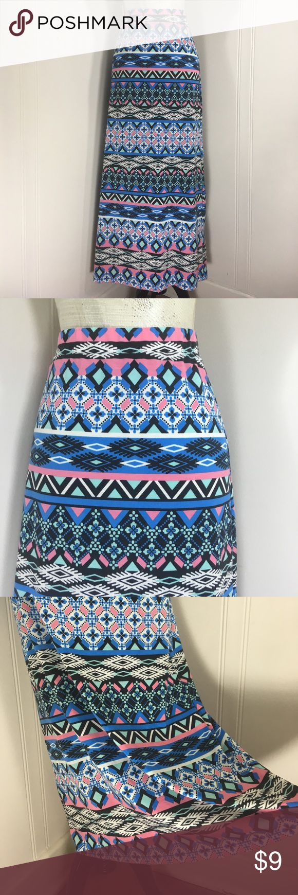 """All Items 3for$15! Boho Hippie Tribal Maxi Skirt Preowned condition. No stains or holes. Normal wash and wear.               Tag Size: juniors Large.                      Waist Flat: 14"""". (Before Stretch).       Length: 37"""".   Stretchy.                       Please go off measurements and NOT Tag Size. Sizes differ from company to company. I 💜questions! Please ask any and all questions before purchasing.   Thanks! ~Rag Time Machine.~ Ambiance Apparel Skirts Maxi"""