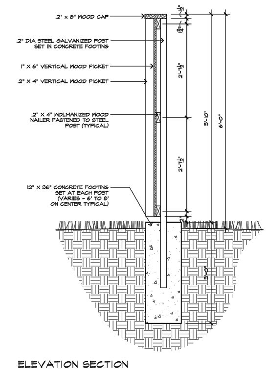 Stone Wall Elevation Drawing : Modern fence detail elevation section architecture