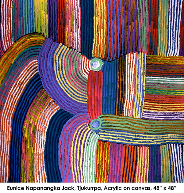 """""""Eunice Napanangka Jack, Tjukurrpa. Acrylaic on canvas"""" Love the colour palette in this work. Vibrant and happy. S."""