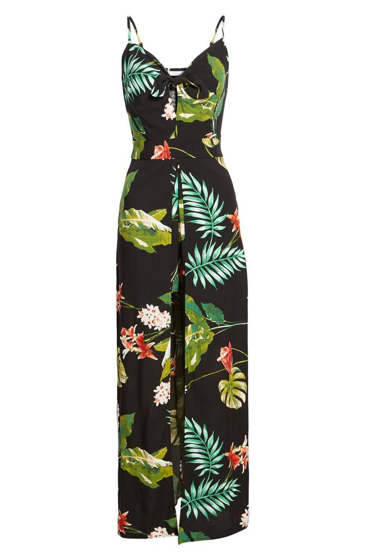 You get the best of both worlds with this lush, tropical one-piece—the leg-baring allure of a romper and the swishy, breezy movement of a maxi dress.Soprano  The Tie-Front Maxi Romper by Soprano available at Nordstroms. #Romper