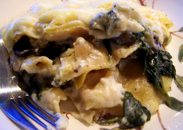 Crockpot Mushroom and Spinach Lasagna