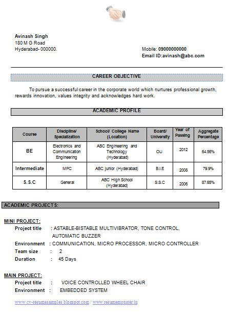 Professional Curriculum Vitae / Resume Template for All Job Seekers  Example Template of an Excellent B Tech Electonics and Communication (ECE) Fresher Resume Sample, Professional Curriculum Vitae with Free Download in Word Doc (2 Page Resume)  ~~~~ Download as many CV's for MBA, CA, CS, Engineer, Fresher, Experienced etc / Do Like us on Facebook for all Future Updates ~~~~