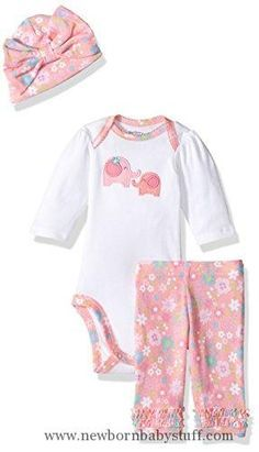 Baby Girl Clothes Gerber Baby 3 Piece Bodysuit, Cap and Legging Set, elephant, 3-6 Months