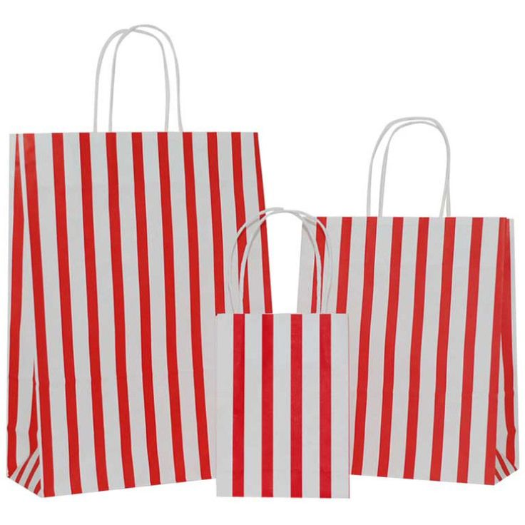 Red Stripes on White Carrier Bag with Twisted Handle - Pico Bags