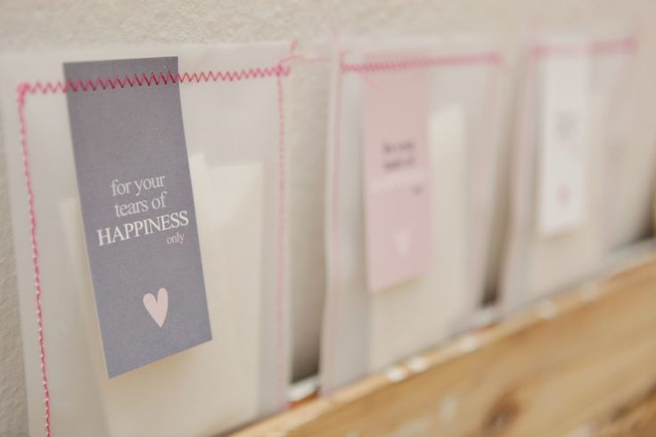 Pretty bag and labels for tissues during wedding ceremony.  Designed by MStudio.