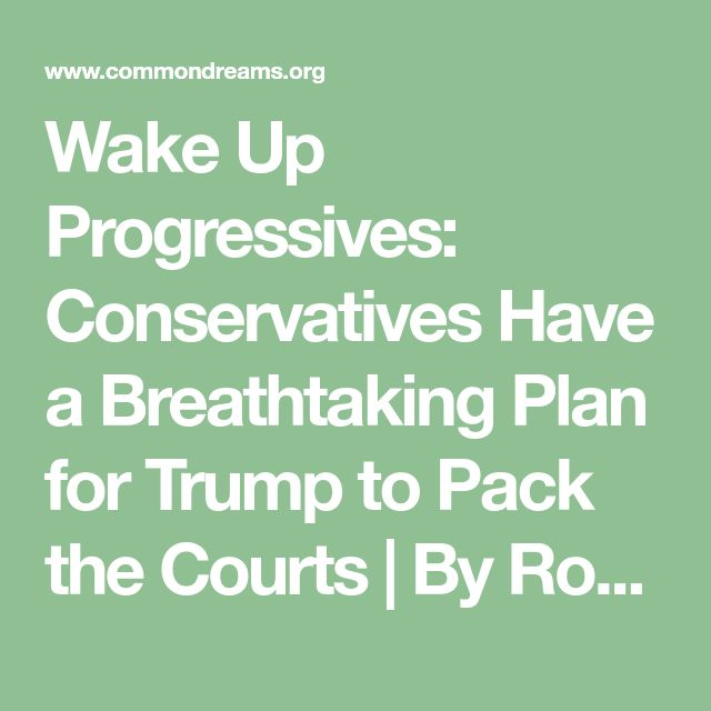 Wake Up Progressives: Conservatives Have a Breathtaking Plan for Trump to Pack the Courts | By Ronald Klain | Common Dreams