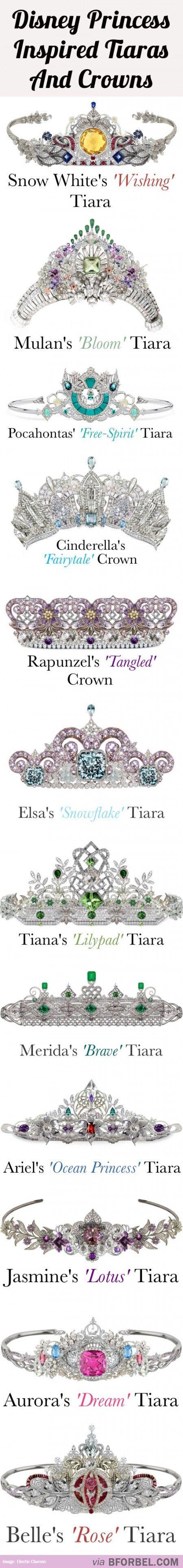 12 Disney Princess Tiaras And Crowns...
