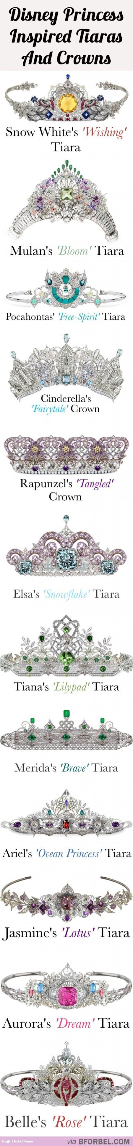 12 Disney Princess Tiaras And Crowns...