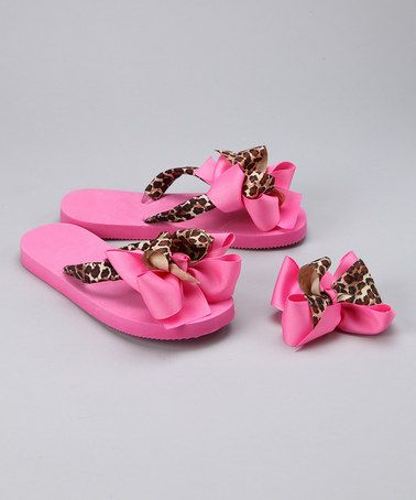 Take a look at this Pink Leopard Flip-Flops & Hair Bow by Summer Accessories: Flip-Flops & Bows on #zulily today!